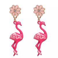 blüht drähte großhandel-Kostenloser Versand! Ohrringe Goldfarbe Rosa Flamingo-Blumen-freie Rhinestone-Email 47 * 11mm Pfosten- / Draht-Größe: (21 Lehre), 1 Paar Weihnachten