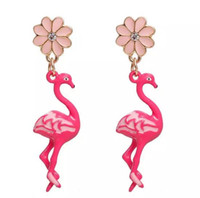 Wholesale Clear Rhinestone Chandelier Earrings - Free Shipping! Earrings Gold Color Pink Flamingo Flower Clear Rhinestone Enamel 47*11mm Post  Wire Size: (21 gauge), 1 Pair christmas