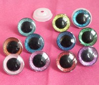 Wholesale 24mm Eyes - 20pcs lot---10 mixed colors 16mm & 20mm & 24mm clear trapezoid plastic safety toy eyes + glitter paper + washer--size option