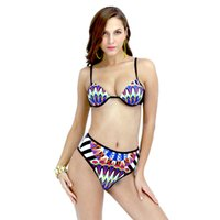 Wholesale Packaging Bikini - Packages mailed the new Europe and the United States women's clothing Feather printed bikini swimsuit sexy fashion fission bikin swimsuit