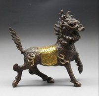 Wholesale Vintage Brass Bucket - exquisite Vintage Chinese handcraft Bronze statue --- Kirin statue