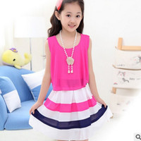 Wholesale Dress Necklace Chiffon - New 2016 Children's Dress Spring and Summer Girls Striped Necklace Chiffon Lolita Style Dress 2 Colors Size6-16 Dress ly115