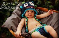 ingrosso beanie del proiettore della foto del bambino-Mostro Crochet Pattern Hat Baby Boys Girls Inverno Natale Dino Cap Newborn Infant Toddler Bambini Bambini Animal Beanie Cotton Photo Puntelli