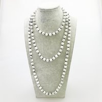 Wholesale Wholesale Beaded Necklaces For Sale - ST0334 Hot Sale 60 inches Women Knotted Necklace Fashion Natural White Howlite Necklace Yoga Long Necklace for Woman