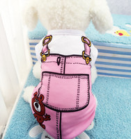 Wholesale Dogs Clothing Dress - Small Pet Dog Clothes T Shirt shirts Dress Vest Summer Spring Pet Dogs Outfits Vest Rompers Teddy Clothes