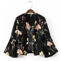 Wholesale Women Blazer Cuff - Vintage Collarless Floral Print Blazer New Woman Patchwork Ruched cuff Flare Sleev Short Suit Jacket Coat Casual Outerwear Black