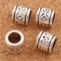 Wholesale Peas Bracelet - Peas Flower Round Big Hole Beads 150pcs lot 8.5x8.5x7.5 mm Antique Silver Fit European Charm Bracelets Jewelry DIY L1400
