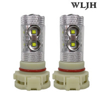 Wholesale H16 Led Bulbs - WLJH High Power Led EU H16 PS24W 5202 60W LED Chip Projector Lens Car Bulb Fog Driving DRL Daytime Running Lamp