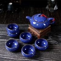 juegos de tetera de cerámica al por mayor-Juego de Tés de Cerámica Juego de Tetera de Cocina Teatings Multicolor Servicio de Té de Glaseado de Cristalería Drinking Teapoy Herramienta de Cocina 10 5wt C R