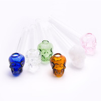 Wholesale Pyrex Glass Blowing - colorful pyrex pipe oil burner water pipes bubbler Skull Smoking Hand Pipes Curved Mini Smoking Pipes Hand Blown Recycler Best water pipe