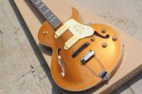 Wholesale Hollow Body Goldtop - Custom 1952 ES-295 Gold Top Goldtop Jazz Hollow Body Electric Guitar Trapeze Tailpiece Split Parallelogram Inlay Historic Flowers Pickguard