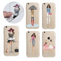 Wholesale Transparent Shopping Bags - Fashion Shopping Girl Painting Ultra thin Transparent Soft TPU CaseCase For iphone 7 6s 6 plus Samsung S7 edge OPP BAG