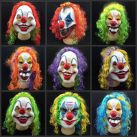 Wholesale Colorful Mask For Party - New Clown Mask Long Curl Colorful Hair Latex Mask Carnival Halloween Mask Masquerade Party Costume free shipping