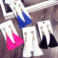 New Arrival Women Elegant Fashion Rhinestone Long Tassel Dangle Earrings Fringe Drop Earrings Lady Ear Stud