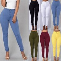 Wholesale yellow jeggings online - Women High Waist Slim Skinny Stretchy Pants Solid Color Lady Leggings Jeggings Pencil Pants Colors OOA3458