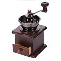 molinillo vintage al por mayor-Diseño retro Manual Coffee Bean Herbs Vintage Hand Grinder Burr Mill molino de grano de café molino de madera LZ0285