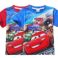 Wholesale Cars Color Mcqueen - Boys' Cars Lightning McQueen T-Shirt Children's short sleeved T-shirt 6886