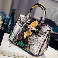 Wholesale Women Hand Bag Leather - Wholesale- 2016 Famous Branded Luxury Serpentine Leather Tote Hand Bag Designer Handbags High Quality Women Shoulder Bags Sac A Main Femme