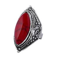 антикварные бирюзовые кольца для женщин оптовых-Женщин Античное серебряное кольцо с Четыре цвета бирюзовый драгоценный камень серебро 925 кольца вечность группа кольца мужские TR120