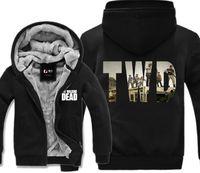 Wholesale Walking Dead Long Sleeve - TV Series The Walking Dead TWD Print Hoodie Winter Fleece Mens Sweatshirts Thick Warm USA Size M-3XL