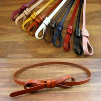 Wholesale Candies Dress Prices - Cowhide Womne's Belts Fashion Waistband Factory Price Candy Color Knot Genuine Cow Leather Dress Waist Straps