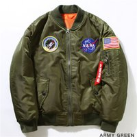 Wholesale American Bomber - Wholesale- 2016 Ma-1 NASA Navy Flying Jacket Nylon Thick Winter Letterman Varsity American College Bomber Flight Jacket For Men