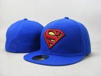 karikatür şapkalı şapkalar toptan satış-Moda Superman Donatılmış Şapka Gorras Düz Ağız Şapka Karikatür Masculino Superman Boyutu Kap Chapeau Homme Mens Womens Spor Gorras