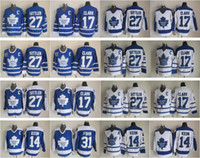 ingrosso pullover di foglie di acero clark-Maglie Uomini Toronto Maple Leafs 31 Grant Fuhr 14 Dave Keon 17 Wendel Clark 27 Darryl Sittler Vintage Classic Blu Bianco Verde