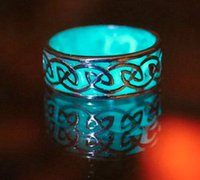 Wholesale mysterious rings - New Fluorescent Glowing Luxury retro The Lord of Ring luminous ring Maya mysterious geometric openings adjustable glow ring