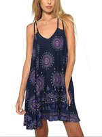 Wholesale Strappy Back Mini Dress - Wowforu Women's Criss cross Strappy Open Back Digital Printed Mini Boho Dress