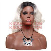 Wholesale Silver Wigs For Women - Cheap Synthetic Wig Women Hair Jerry Curl Short Wig Black Ombre Silver Granny Grey for Black Women