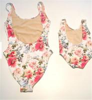 Wholesale Kids Floral Swimsuits - Mom Girl Swimming Suit Mother Daughter Floral Bikini Swim Wear Mom Kids One-piece Matching Swimwear Family Match Swimsuit Bathing Beachwear