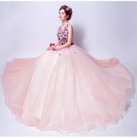 Wholesale Photography Evening Dress - SSYFashion 2017 Beautiful Colorful Pink Lace Flower Evening Dress The Bride banquet Photography Floor-length Prom Formal Party Gowns