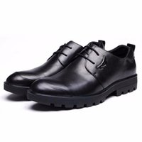 Wholesale Thick Soled Pointed Dress Shoes - mens work shoes genuine leather comfortable rubber thick sole outdoor men shoes flats for leisure business