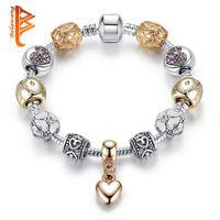 Wholesale Bracelets Gold 18 - BELAWANG Original New Silver&Gold Flower Beads Bracelets with Snake Chain Heart Pendant Star Charm Bracelets Bangles Wholesale 18-20cm