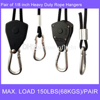 Wholesale Wholesale Rope Ratchets - 1 8 inch Rope Ratchet Hanger Adjustable Load-bearing Hooks Extra Strength Metal Gear Max. load 150lbs (68kgs) pair rope plant hangers