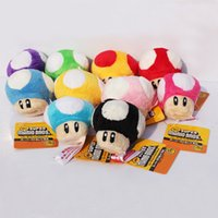 Wholesale Mario Bros Stuffed Toys Wholesale - 10pcs Lot 6CM Super Mario Bros plush Stuffed Dolls Mushroom Plush Toys Keychain phone strap plush pendant discount