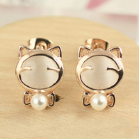 Super Mignon Sweet temperament joker opale chat bowknot perle stud earring Mr chat stud livraison gratuite en gros