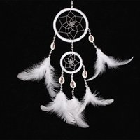 Wholesale Handmade Indian Dream Catcher cm Double Circles Net with Feathers Wind Chimes Wall Hanging Dreamcatcher Craft Gift