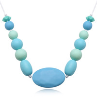 Wholesale Teething Pendants - Women Silicone Pendant Necklace Food BPA Free Food Grade Silicone Fashion Jewelry Baby Chew Carrier Teething Accessories Long Necklace Gift