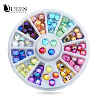 projetos da roda de prego venda por atacado-Novo 5mm 72 pcs Nail Art Multicolor 3d Glitter AB Rhinestone Roda DIY Strass Beads Design Prego Beleza Decorações