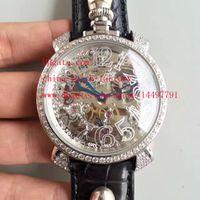 Wholesale Gaga Watch Diamond - Fashion High Quality Watch Platinum Diamond 44mm x 12mm GaGa Milano Skull Head Leather Strap Swiss CAL.6497 Mechanical Movement Mens Watches