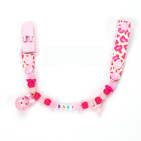 Wholesale Personalised Dummy Clips - Wholesale-Personalised -Any name Hand made funny pink small rabbit beads dummy clip dummy holder pacifier clips soother chain for baby