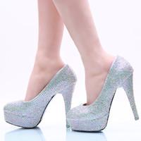 Wholesale silver rhinestone bridal shoes 11 - 5 8 11 14CM Heels Silver Fully Beaded Cinderella Shoes Hand-made Prom Evening High Heels Beading Rhinestones Bridal Bridesmaid Shoes 156