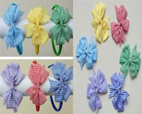 3style disponible! 3.5inch filles cheveux de l'école bow bobbles bow clips alice bandes bandeau cravate porte-manteau gingham plaid 30pcs /