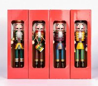 """Wholesale Wood Ornament Craft - 12"""" 30cm Sword Nutcracker Wooden King Soldier Toys Ornaments Holiday Home Decoration Gifts Hand-painted Crafts, ZAKKA Dolls"""