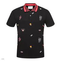 новые футболки для мужчин оптовых-Новый горячий роскошный Италия рубашка футболка Хай-стрит вышивка футболки для мужчин змея пчела тигр Марка рубашка мужчины