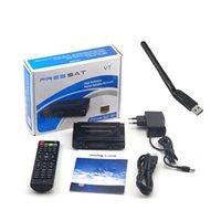 Wholesale Pc Tv Receiver - Freesat V7 With 1 pcs WIFI DVB-S2 HD satellite TV receiver Youtube Power VU CCcam Newcamd Not support IPTV