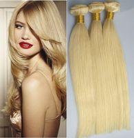 Wholesale Virgin Brazilian Hair Best Products - best quality new star hair products bleached 3 bundles 100g pcs #613 blonde platinum blonde brazilian straight virgin hair extensions