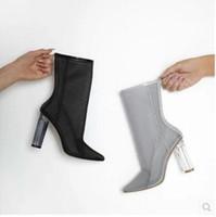 ingrosso maglie nere tacco grosso-2017 nuove donne air mesh stivali tacco chiaro stivaletti alla caviglia tacco grosso punta punta stivaletti scarpe da sera sandali gladiatore stivali donna